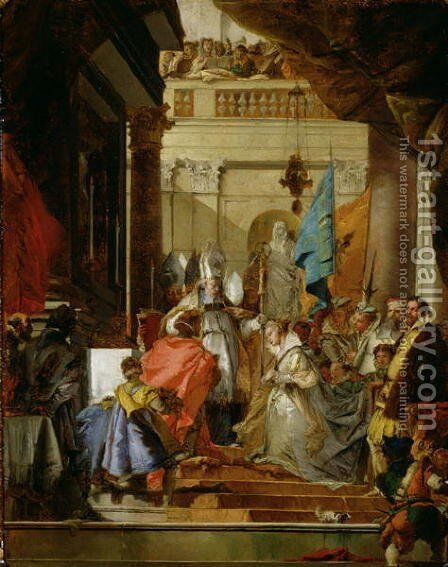 The Wedding of Frederick Barbarossa c.1123-1190 to Beatrice of Burgundy in 1156, c.1752 by Giovanni Domenico Tiepolo - Reproduction Oil Painting