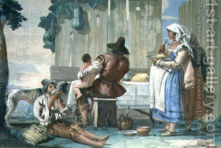 Peasants Eating out of Doors, from the Foresteria Guesthouse 1757 by Giovanni Domenico Tiepolo - Reproduction Oil Painting