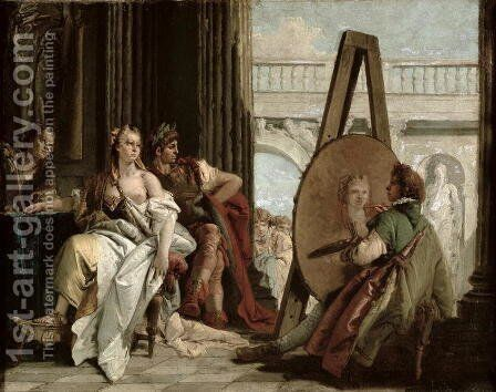 Alexander and Campaspe at the house of the painter Apelles by Giovanni Domenico Tiepolo - Reproduction Oil Painting