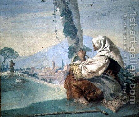 Old Peasant Woman with a Basket of Eggs, from the Foresteria by Giovanni Domenico Tiepolo - Reproduction Oil Painting
