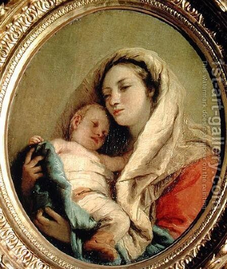 Madonna with Sleeping Child, 1780s by Giovanni Domenico Tiepolo - Reproduction Oil Painting