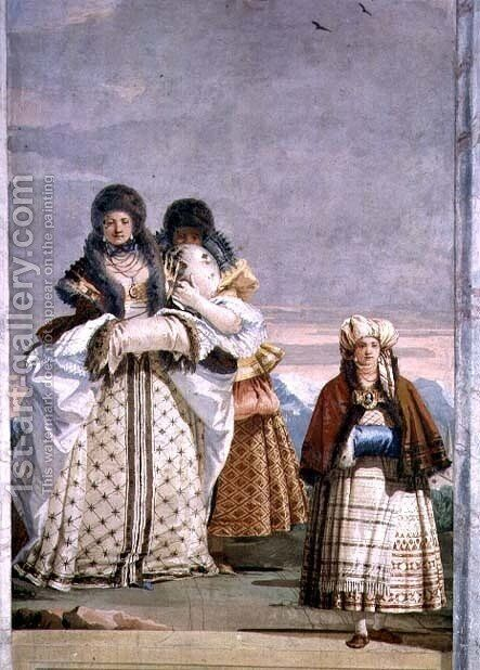 A Winter Stroll, from the Foresteria Guesthouse 1757 by Giovanni Domenico Tiepolo - Reproduction Oil Painting