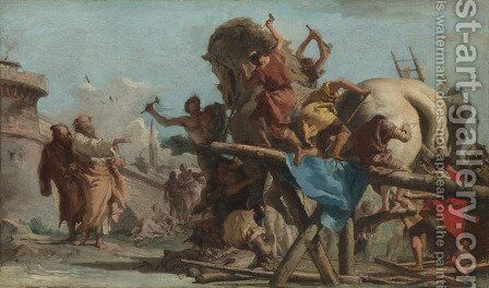 The Building of the Trojan Horse, c.1760 by Giovanni Domenico Tiepolo - Reproduction Oil Painting