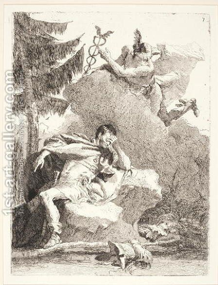 Mercury Appears to Aeneas in a Dream, c.1770 by Giovanni Domenico Tiepolo - Reproduction Oil Painting
