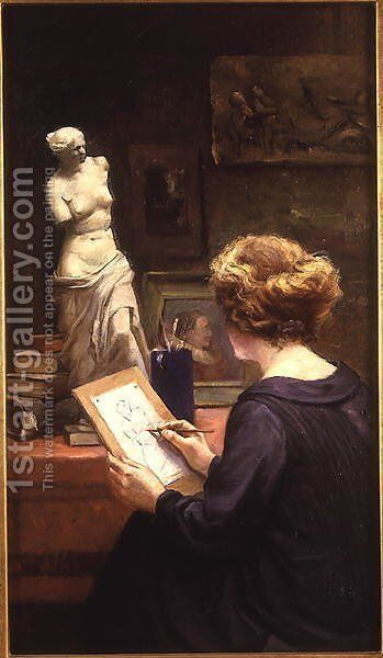 In the Studio by Henri Timmermans - Reproduction Oil Painting