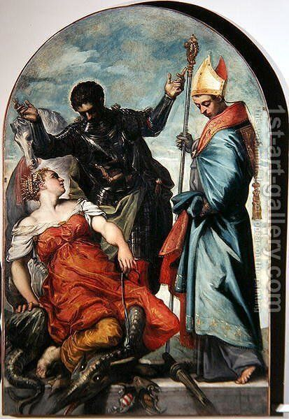 St. Louis, St. George and the Princess by Domenico Tintoretto (Robusti) - Reproduction Oil Painting