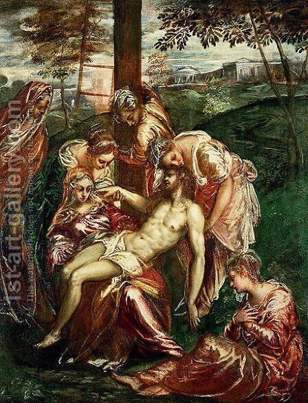 Descent from the Cross by Domenico Tintoretto (Robusti) - Reproduction Oil Painting