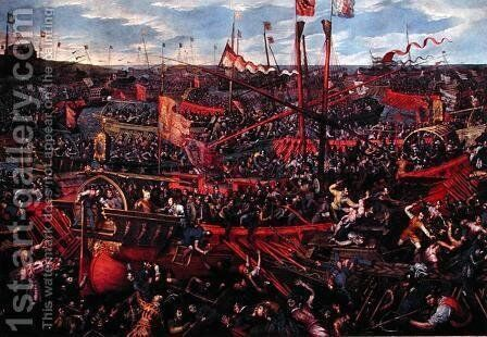 The Battle of Salvore by Domenico Tintoretto (Robusti) - Reproduction Oil Painting