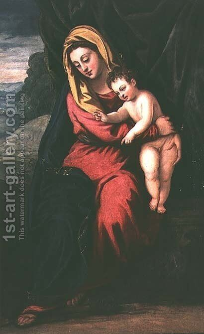 Madonna and Child by Domenico Tintoretto (Robusti) - Reproduction Oil Painting