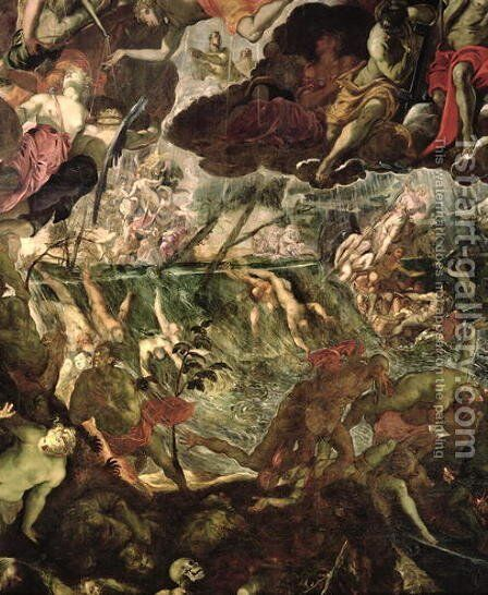 The Last Judgement, detail of the damned in the River Styx and Charons boat full of passengers, before 1562 by Domenico Tintoretto (Robusti) - Reproduction Oil Painting