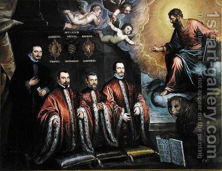 St. Mark in glory and a portrait of three lawyers and a notary, 1623 by Domenico Tintoretto (Robusti) - Reproduction Oil Painting