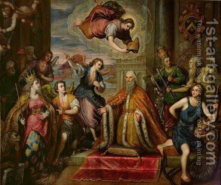 Doge Giovanni Bembo d.1615 kneeling before the personification of the City of Venice by Domenico Tintoretto (Robusti) - Reproduction Oil Painting