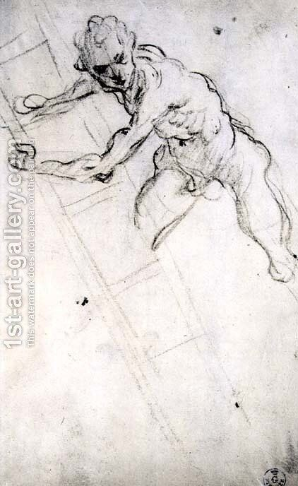 Study of a figure for the Crucifixion by Domenico Tintoretto (Robusti) - Reproduction Oil Painting