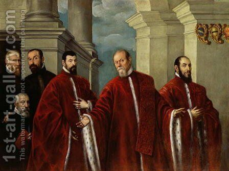 Portrait of Three Lawyers and Three Notaries, 1623 by Domenico Tintoretto (Robusti) - Reproduction Oil Painting