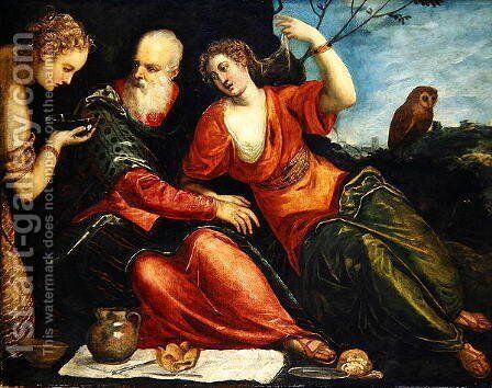 Lot and his Daughters by Jacopo Tintoretto (Robusti) - Reproduction Oil Painting