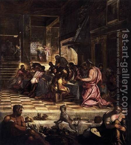 The Last Supper by Jacopo Tintoretto (Robusti) - Reproduction Oil Painting