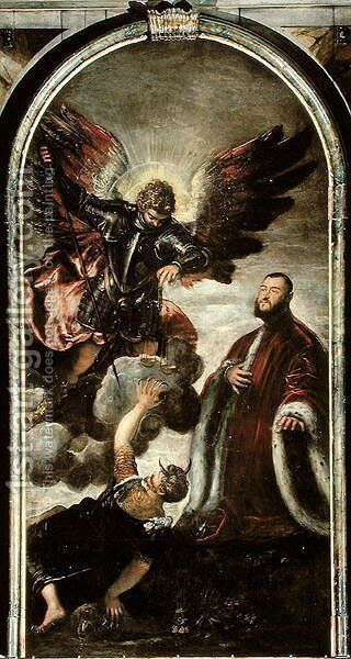 Archangel Michael vanqishing Lucifer in the presence of a Venetian senator by Jacopo Tintoretto (Robusti) - Reproduction Oil Painting