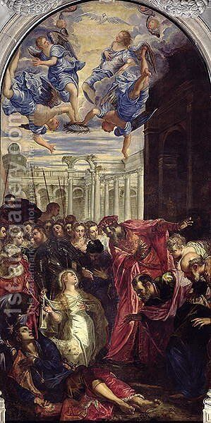 St. Agnes revives the son of the Prefect of Rom by Jacopo Tintoretto (Robusti) - Reproduction Oil Painting