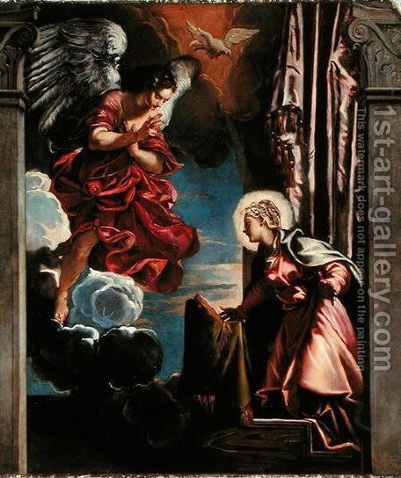 The Annunciation by Jacopo Tintoretto (Robusti) - Reproduction Oil Painting