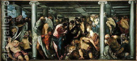 The Probatic Pool, c.1560 2 by Jacopo Tintoretto (Robusti) - Reproduction Oil Painting