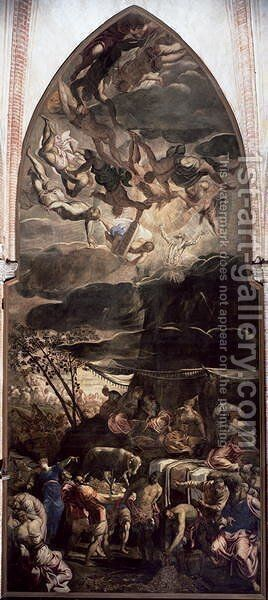 Adoration of the Golden Calf, 1546 2 by Jacopo Tintoretto (Robusti) - Reproduction Oil Painting