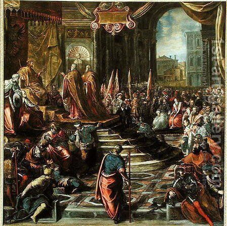 The Envoy of Pope Alexander III 1105-81 and Doge Sebastiano Ziani d.1178 with Emperor Frederick Barbarossa 1122-90 by Jacopo Tintoretto (Robusti) - Reproduction Oil Painting
