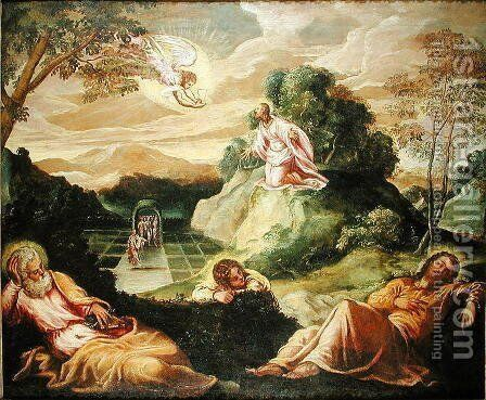 The Agony in the Garden by Jacopo Tintoretto (Robusti) - Reproduction Oil Painting
