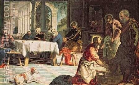 Christ Washing the Feet of the Disciples, detail of the right hand side, c.1547 by Jacopo Tintoretto (Robusti) - Reproduction Oil Painting