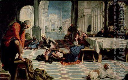 Christ Washing the Feet of the Disciples, detail of the left hand side, c.1547 by Jacopo Tintoretto (Robusti) - Reproduction Oil Painting