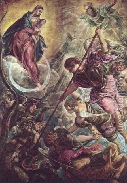 Archangel Michael Fights Satan, c.1590 by Jacopo Tintoretto (Robusti) - Reproduction Oil Painting