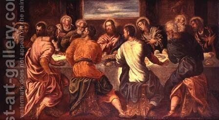 The Last Supper, mid 1540s by Jacopo Tintoretto (Robusti) - Reproduction Oil Painting