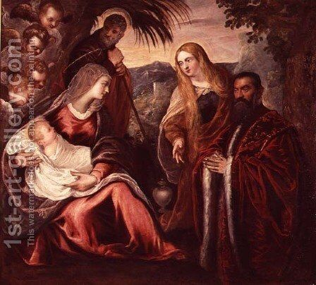 Holy Family with Matteo Saranzo by Jacopo Tintoretto (Robusti) - Reproduction Oil Painting