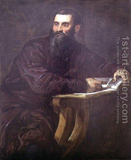 Portrait of a Bearded Man with a Book by Jacopo Tintoretto (Robusti) - Reproduction Oil Painting