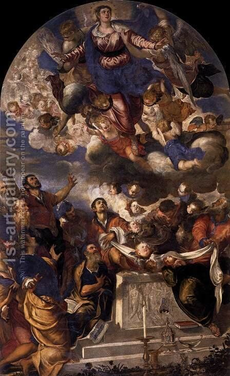 The Assumption of the Virgin, 1555 by Jacopo Tintoretto (Robusti) - Reproduction Oil Painting