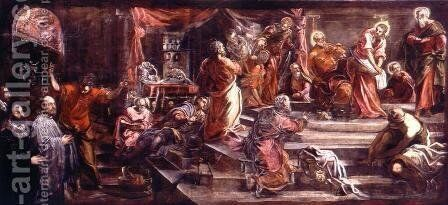 The Washing of the Feet by Jacopo Tintoretto (Robusti) - Reproduction Oil Painting