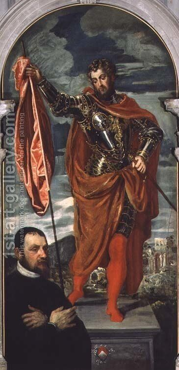 St. Demetrius and a Donor from the Ghisi Family by Jacopo Tintoretto (Robusti) - Reproduction Oil Painting