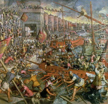 The Capture of Constantinople in 1204 by Jacopo Tintoretto (Robusti) - Reproduction Oil Painting