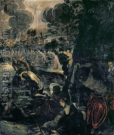 The Baptism of Christ 2 by Jacopo Tintoretto (Robusti) - Reproduction Oil Painting