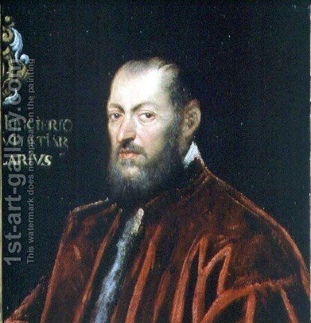 Portrait of Andrea Frizier, Grand Chancellor of Venice by Jacopo Tintoretto (Robusti) - Reproduction Oil Painting