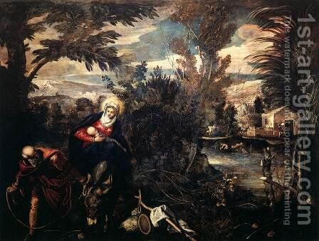 The Flight into Egypt, c.1575-77 by Jacopo Tintoretto (Robusti) - Reproduction Oil Painting