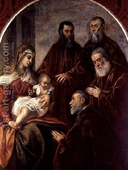 Madonna and child with four Statesmen by Jacopo Tintoretto (Robusti) - Reproduction Oil Painting