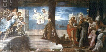 Doge Alvise Mocenigo d.1577 presented to the Redeemer, c.1577 by Jacopo Tintoretto (Robusti) - Reproduction Oil Painting