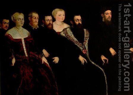 Seven members of the Soranzo Family 2 by Jacopo Tintoretto (Robusti) - Reproduction Oil Painting