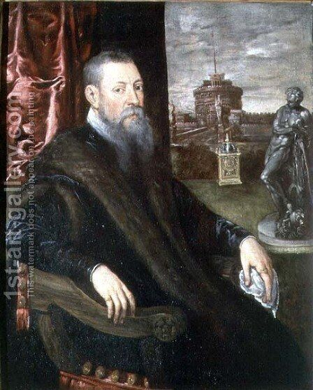 Portrait of an Art Collector by Jacopo Tintoretto (Robusti) - Reproduction Oil Painting