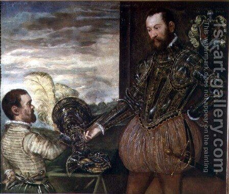 Scipio Clusone with a dwarf valet by Jacopo Tintoretto (Robusti) - Reproduction Oil Painting