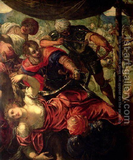 Battle between Turks and Christians, c.1588-89 by Jacopo Tintoretto (Robusti) - Reproduction Oil Painting