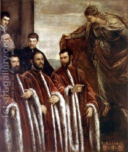 St. Giustina and the Treasurers of Venice, 1580 by Jacopo Tintoretto (Robusti) - Reproduction Oil Painting
