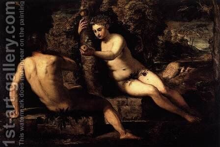 The Temptation of Adam and Eve by Jacopo Tintoretto (Robusti) - Reproduction Oil Painting