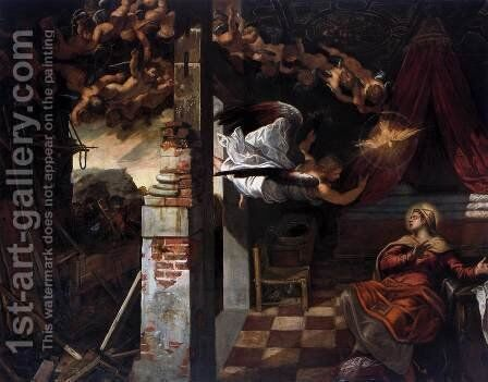 The Annunciation 2 by Jacopo Tintoretto (Robusti) - Reproduction Oil Painting