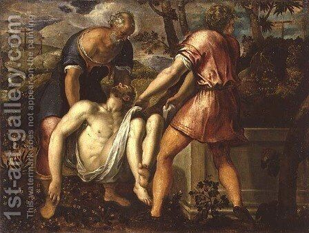The Entombment of Christ by Jacopo Tintoretto (Robusti) - Reproduction Oil Painting